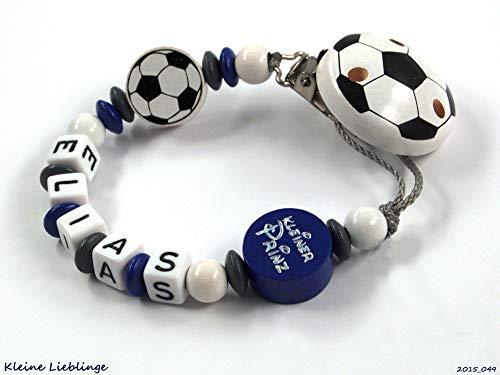 Schnullerkette mit Namen Junge Holz Fußball - handgefertigt viele Varianten - Silikonring (Kleiner Prinz Fußball)