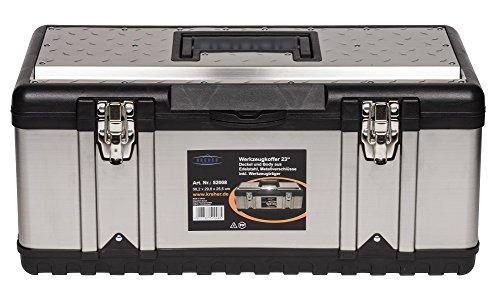 XXL Werkzeugkoffer PROFI 23 aus Edelstahl mit robustem Kunststoff-Rahmen und herausnehmbaren Werkzeugträger. Mit Metallverschlüssen, abschließbar. Maße: 58,2 x 29,8 x 25,5 cm