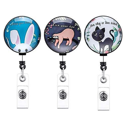 Stile 1 Artscope 12 Pezzi Porta-Bobina Porta Badge Retrattile Stile Marmo Portabadge per Infermiera Porta Badge con Nome ID con Clip da Cintura