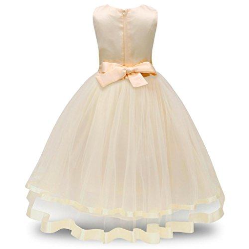 Kleine Prinzessin Pageant (Malloom® Blumenmädchen Prinzessin Brautjungfer Pageant Tutu Tüll Kleid Party Hochzeitskleid (beige, 160))