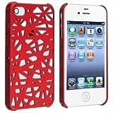 Conception Nid d'oiseau 3D global creux de Red Mesh Net de protection Snap-On Case caoutchouc rigide pour iPhone 4 4S de couverture