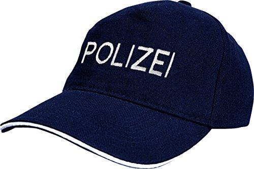 Baseballcap mit Stick - Polizei - 68400 dunkelblau - Cap Kappe Baumwollcap