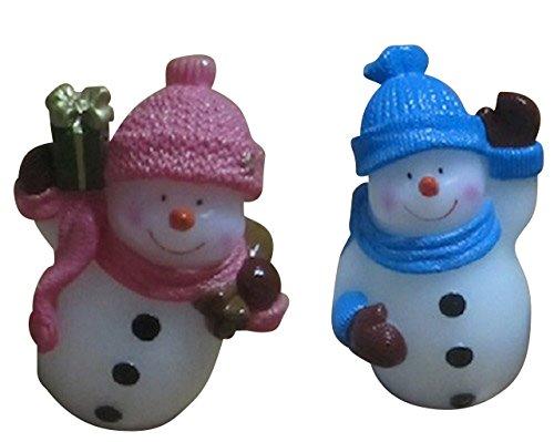 LED Vela Muñeco de nieve figuras 2Unidades Color Rojo Y Azul Navidad decoración de invierno
