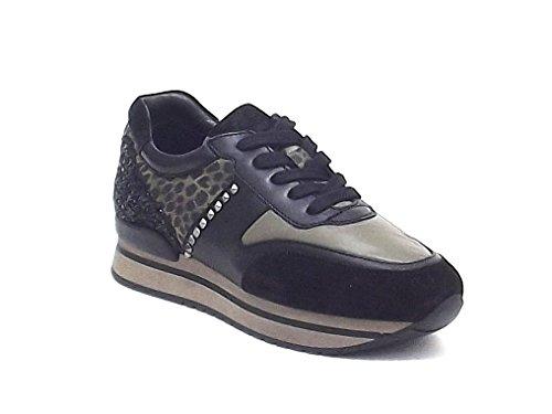 Janet Sport scarpe donna, 36754, sneakers in camoscio e pelle, colore nero militare