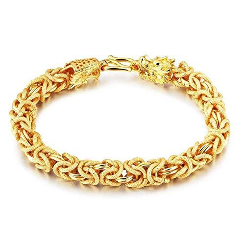 Gelbgold 18 Karat / 750 Gold Herren Armkette Armband 21cm Doppel Drache Kette