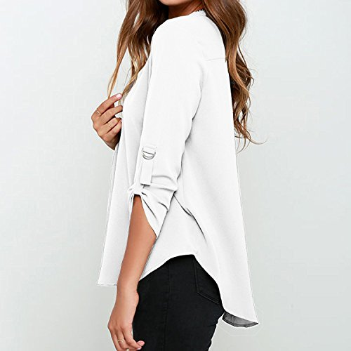 Minetom Femmes Chemise Sexy Col V Hauts Tops Mousseline Lâche Manches Longues Shirt Tee Blouse Blanc