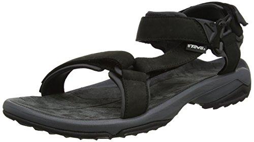 Antimikrobielle Leder Sandalen (Teva Herren Terra Fi Lite Leather Sandal Mens Trekking-& Wanderhalbschuhe, Schwarz (Black), 47 EU)