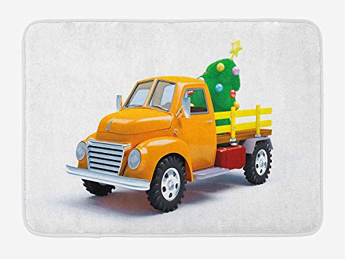 NasNew Doormats Christmas Bath Mat, Yellow Vintage Truck and Tree Design with Star Topper Old Farm Vehicle, Plush Bathroom Decor Mat with Non Slip Backing, 23.6 W X 15.7 W Inches, White Yellow Green