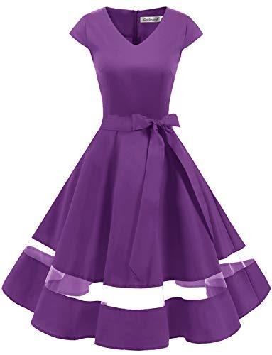 Gardenwed 1950er Vintage Retro Rockabilly Kleider Petticoat Faltenrock Cocktail Festliche Kleider Cap Sleeves Abendkleid Hochzeitkleid Purple M