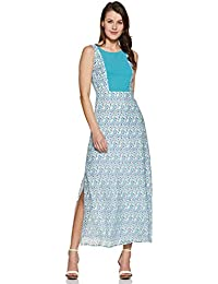 e84b91e13 THE VANCA Maxi Dress in Blue Print with Solid Blue Front Panelled Body Part