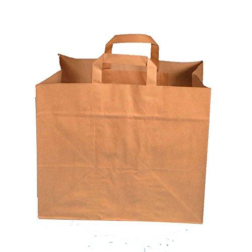 250 Papiertragetaschen Bio Tragetaschen Papiertüten Konditortragetaschen, braun, 70g/m², 32+21,5x27cm (großer Boden 32x21,5cm)