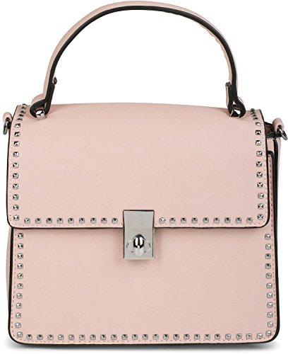 styleBREAKER Satchel Henkeltasche mit Pyramiden Nieten, Handtasche, Tasche, Damen 02012216, Farbe:Rose