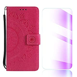 The Grafu iPhone 6 Plus 6s Plus Case, Leather Case, Premium Wallet Case with [Card Slots] [Free Tempered Glass Screen Protector] Flip Notebook Cover for Apple iPhone 6 Plus / 6S Plus, Rose Red