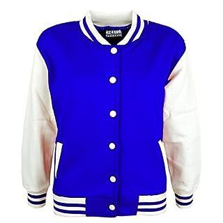 A2Z 4 Kids Kids Girls Boys Baseball Varsity Style - B.B Plain Jacket Royal Blue 7-8