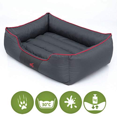 Hundebett Schlafplatz Hundekissen Comfort Große: XL Farbe: grau mit rot - 3