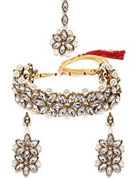 Zaveri Pearls Traditional Crystal Shine Stones & Pearls Choker Necklace Set For Women-ZPFK8716