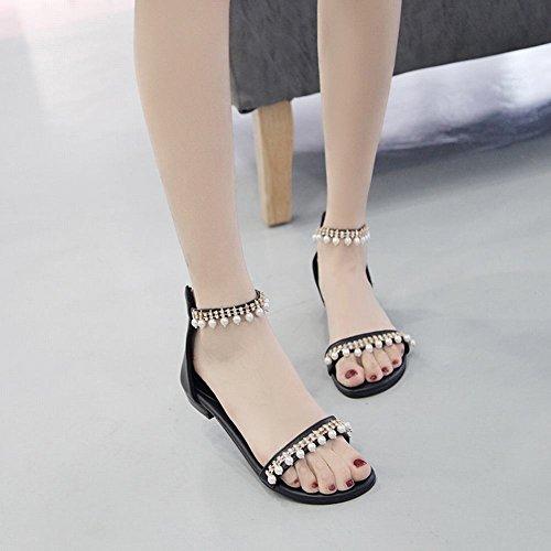 MissSaSa Donna Scarpe col Tacco Basso Sandalo Eleganti Nero