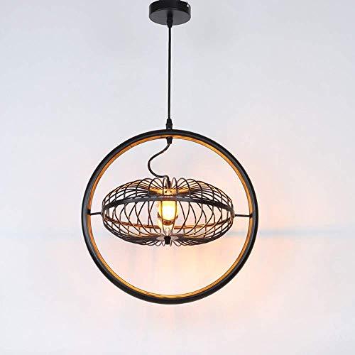 BOSSLV Retro Pendelleuchte Runde Eisen Kronleuchter, Vintage Led Schwarz Metall Decke Pendent Lampe Kreative Restaurant Dekorative Deckenleuchte