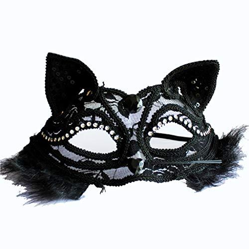 Maske Katze Half Face Erwachsene Augenmaske Spitze Und Wind Cos Anime Sex Katze Weibliche Halloween (Farbe : SCHWARZ) ()