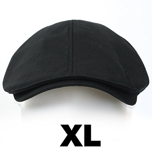 ililily Cotton Flat Cap Cabbie Hut Gatsby Ivy Cap Irish Hunting Hut Newsboy (X-Large (7 5/8), XL-Black)