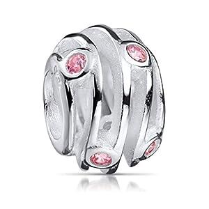MATERIA Zirkonia Beads Perle Silber 925 – Charms Anhänger Rosa Zirkonia Silberperle für Armband 1203