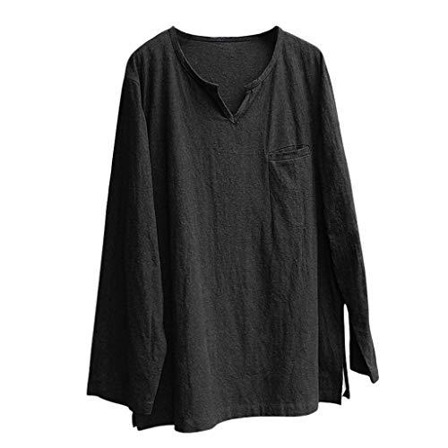 LSAltd Sommer männer neueste Freizeit Kurze einfarbig Langarm atmungsaktiv bequem leinen t-Shirt Tops Bluse