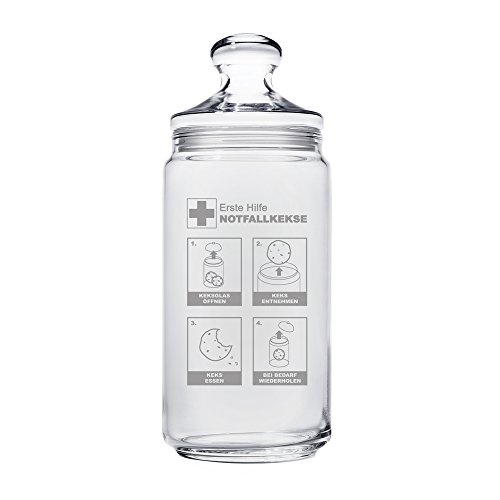 Casa Vivente - Keksglas mit Gravur und Deckel - Keksdose aus Glas - Notfallkekse - Vorratsglas - Lustige Geschenkidee zum Geburtstag - Geschenk für Frauen und Männer