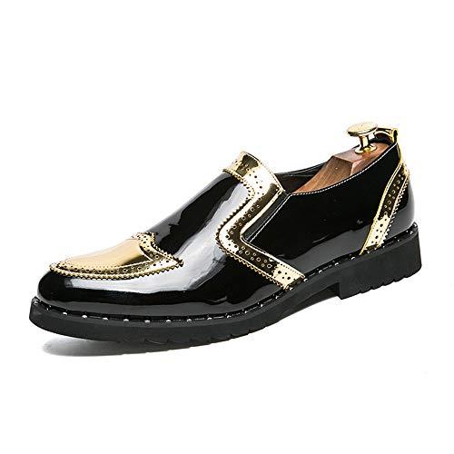 Xiaojuan-shoes, moda casual da uomo classico scarpe da ballo in pelle verniciata vintage patchwork oxford,scarpe uomo pelle (color : gold, dimensione : 45 eu)
