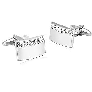 Bishilin 1 Paar Edelstahl Herren Manschettenknöpfe Hochzeit Gekrümmten Rechteck mit Zirkonia Hemd Manschettenknopf Silber