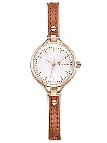 Alienwork Quartz Watch bracelet chain warp Wristwatch elegant stylish Metal white rose gold YH.K6223S-03