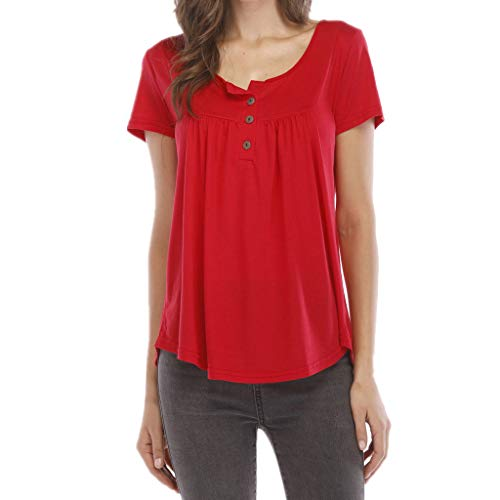 kolila T-Shirts Tops Plus Size Lose Damen Einfarbig Plissee Geknöpfte Kurzarm Tunika Bluse Sommer Casual T Shirts(Rot,S)