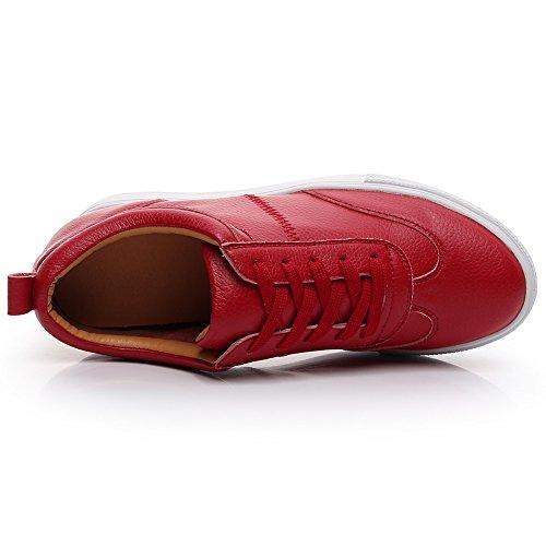 Jamron Ladies Comfort Soft Sandali In Pelle Con Zeppa E Zeppa Color Rosso