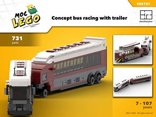 Bus for racing transport concept with trailer (Instruction Only): MOC LEGO (English Edition)