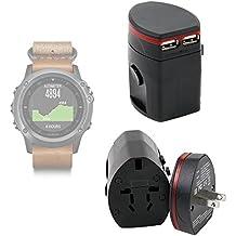 DURAGADGET Adaptador Internacional ¡4 en 1! Para Smartwatch Garmin Fénix 3 / HR / Leather / Nylon / Titanium - Compatible En Más De 150 Países - Europe / UK / USA / Australia - China - Con Doble Puerto USB