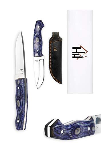 Hobby Hut HH-704, 9.7 cm jagdmesser mit lederscheide, 01 Kohlenstoffstahl, Camping Messer, Extra Scharf, Blue Micarta Griff