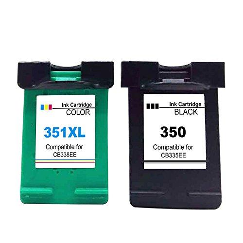 Ksera Rigenerata HP 350 351XL Cartuccia d'inchiostro, HP 350 HP351XL, 2 pezzi (1 nero +1 tricolore) CB335EE/CB338EE per HP PhotosmartC4280 /C4270/ C4340/ C4205/ C4380/ C5280