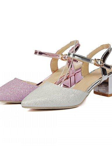 WSS 2016 Chaussures Femme-Extérieure / Bureau & Travail / Habillé-Rose / Argent-Gros Talon-Talons-Talons-Similicuir silver-us5 / eu35 / uk3 / cn34