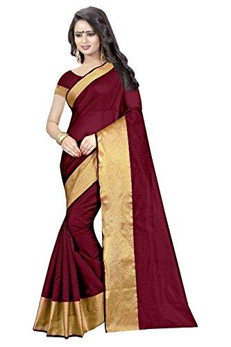 Clothfab Women's Cotton Silk Saree With Blouse Piece (Monika-Wine_Wine)