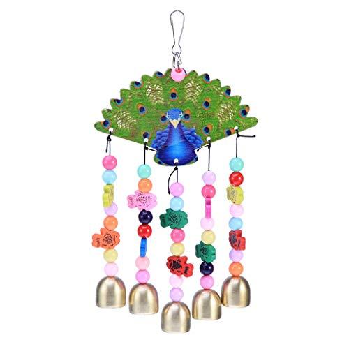 auenförmige Kupferglocken Kreative Windspiele aus Holz Papageien Kauen Spielzeug für einen Vogel liefert Outdoor-Garten Ornamente Windspiele (Color : Green, Größe : 29cm) ()