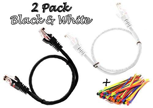 Multi Cable - CAT5E Netzwerk Ethernet Patch-Kabel 0.5M UTP - mit 2x RJ45 Stecker Set '2 Stück, Schwarz und Weiß ' (50 Kabelbinder in der Packung enthalten) 0.5 meter