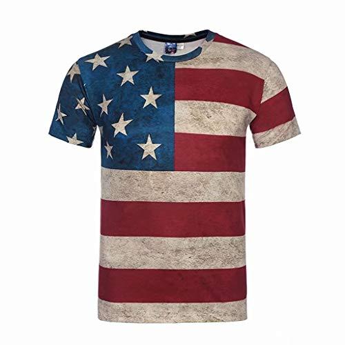 CICIYONER Tshirts Herren Mode Männer amerikanische Flagge Druck Tees Kurzarm T-Shirt Bluse Tops S M L XL XXL - Print Schlaf Tee