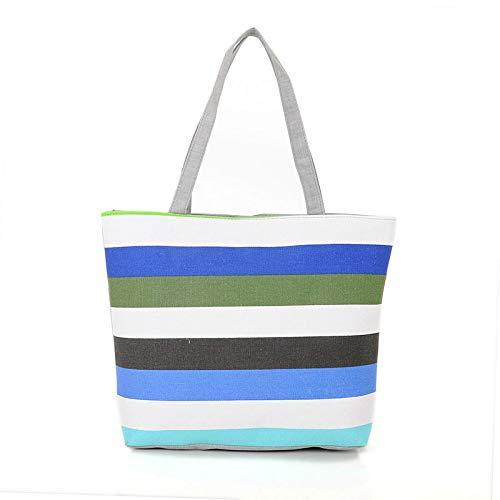 NSWMDSTD Leinwand Bedruckte Handtaschen,Canvas Shopper Tasche Blau-Weiß Gestreifte Rainbow Druckt Strand Taschen Frauen Schultertasche Casual Damen Einkaufen Handtasche