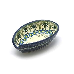 Polish Pottery Spoon Rest – Blue Spring Daisy
