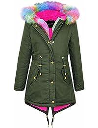 A2Z 4 Kids® Kinder Mit kapuze JACKE Mädchen Rainbow Faux Pelz Parka SCHULE JACKEN Outwear Mantel Neu Alter 7 8 9 10 11 12 13 Jahre
