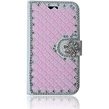 LG L Fino Funda, LG D295 Funda, Lifeturt [ diamante rosa ] Cubierta de la caja de cuero superior de la carpeta del libro para LG L Fino/D295