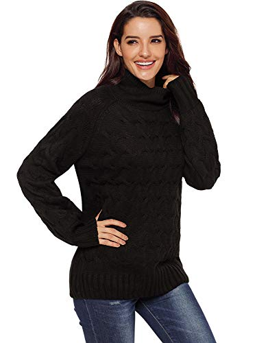 HAINE Womens Ladies Chunky Knit Knitted Pullover Autumn Winter Long Sleeve Plain Sweater Baggy Thick Warm Roll Neck Top Elegant Sweater Jumper Black (UK10-12) Medium - Dolman Sleeve-wrap