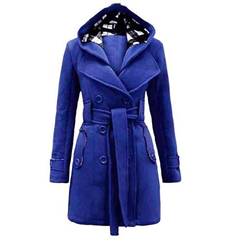 feiXIANG Parka Cardigan Damen Warm Winter Pullover Kapuzen Long Coat Jacke(Blau,XL)
