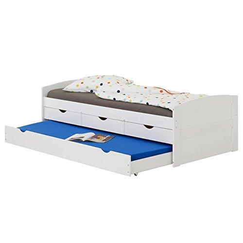 Prix IDIMEX Lit gigogne Jessy lit Enfant Fonctionnel avec tiroir-lit et rangements 3 tiroirs, Couchage 90 x 200 cm 1 Place/1 Personne, en pin Massif lasuré Blanc