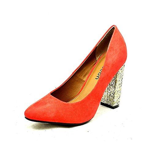 Mesdames d'entre pointu toe escarpins avec talon or scintillant Corail