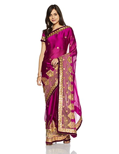 Womanista Women's Embroidered Satin Saree with Blouse Piece (FS9051-Magenta-Free Size)